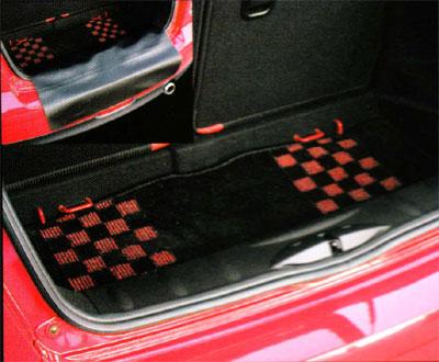 BMW MINI フロアマット F55 5 DOOR ラゲージカーペット マット シャギー チェック ブラック レッド