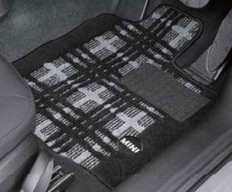 """【送料無料】【BMW MINI 純正】MINI フロアマット MINI R57(コンバーチブル) フロアマット・セット """"シャギー・クラシカル・モダン(ブラック/グレー)"""""""