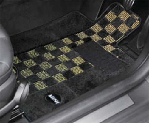BMW MINI 純正 専門店 安心と信頼 セットアップ カスタム パーツ アクセサリー 車用品 フロアマット R58 チェック シャギー セット イエロー Roadster ブラック Coupe 用 R59