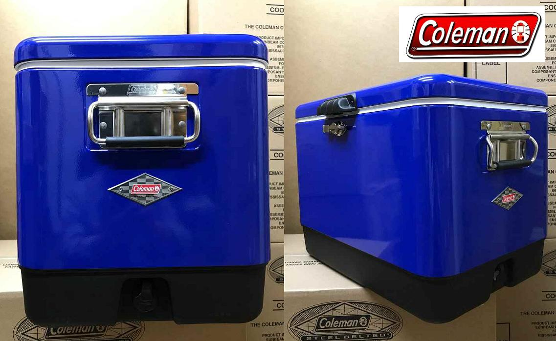 ♦ Japan 未発売 products ♦ new ♦ COLEMAN ♦ 54 QT ♦ STEEL BELTED COOLER ♦ BLUE ♦  Coleman ♦ steel belt coolers ♦