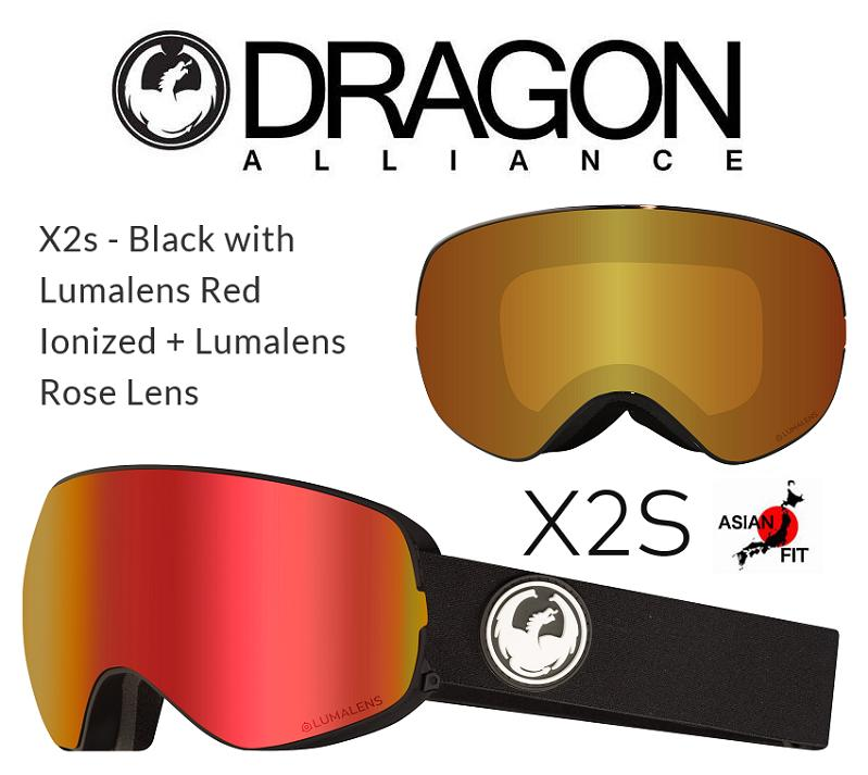 DRAGON ASIAN-FIT 2019 ドラゴン ゴーグル GOGGLE X2s BLACK RED LUMALENS
