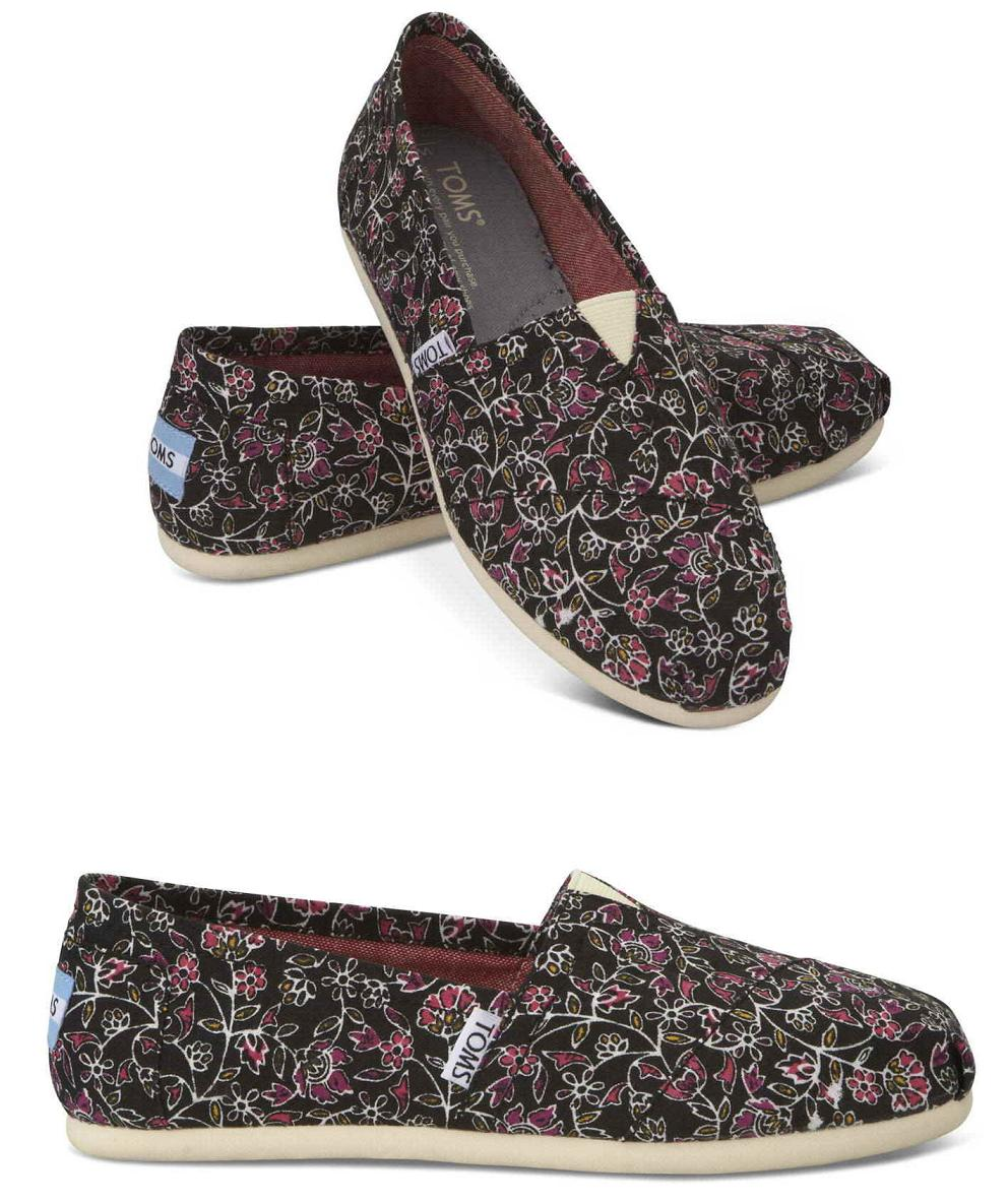5bb8cabe7ea board-cooker  Thoms shoes TOMS SHOES BLACK FLORAL canvas CANVAS slip-ons  Lady s