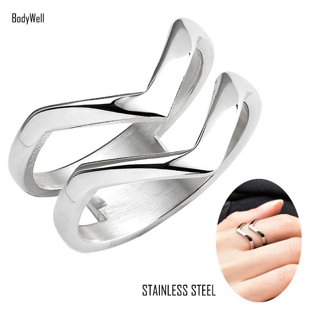 ノンアレルギー ステンレス指輪 Vデザイン ステンレス 春の新作 リング 指輪 メンズ 低価格化 ステンレスアクセサリー レディース ペアアクセサリー ペアリング 結婚 金属アレルギー対応