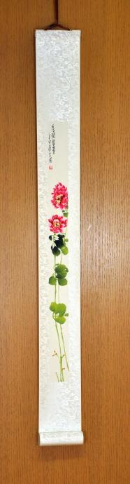 中国の美しい自然の1コマ… 送料無料 墨絵彩色画 軸-2 額 癒し 絵 寛ぎ 信託 新築祝い オンラインショッピング 贈り物 インテリア