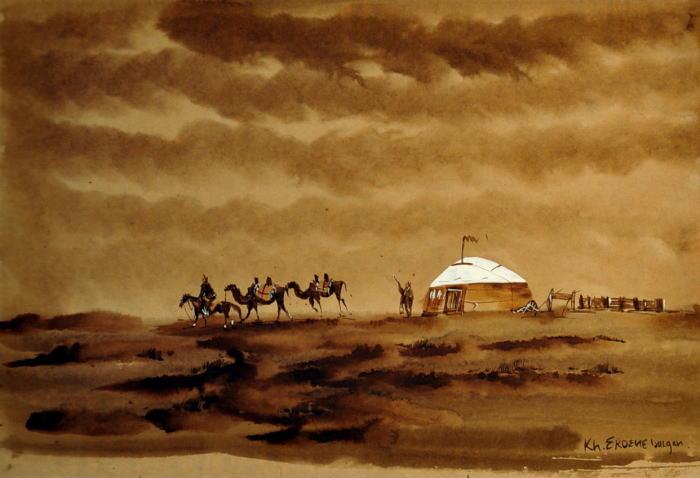 【送料無料】 モンゴル風景画 【額 癒し 絵 寛ぎ インテリア 新築祝い  贈り物】