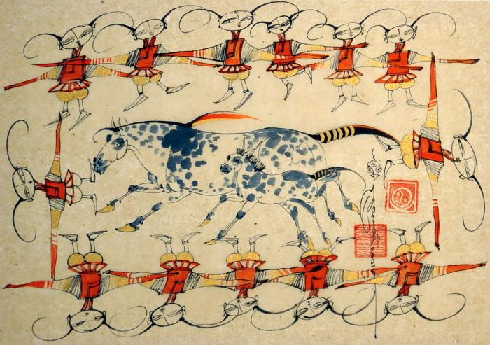 馬と少女 送料無料 モンゴル作家による彩色画 額 癒し 絵 インテリア 贈り物 寛ぎ 驚きの値段で 再入荷/予約販売! 新築祝い