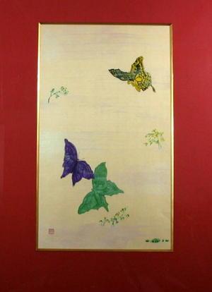 送料無料 好評 商い 蝶 日本画