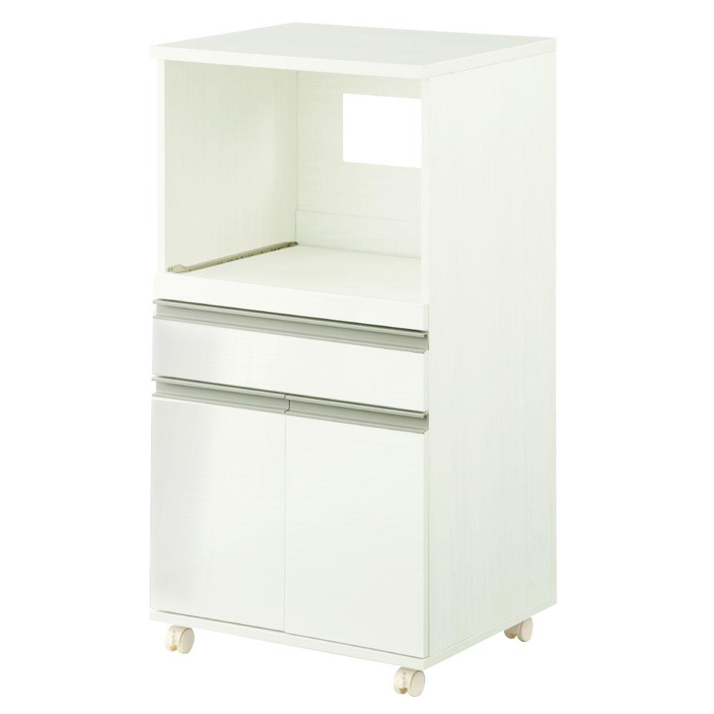 \クーポンで送料無料/ キッチンワゴン キャスター付き 木製 家電棚 ウォールナット/ナチュラル/ホワイト KCB000037