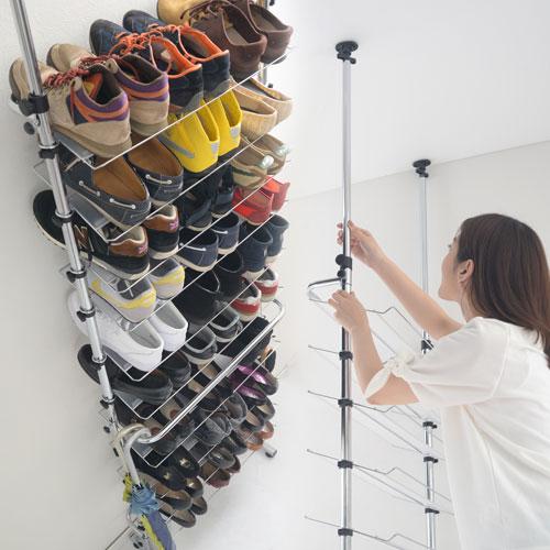 \クーポンで送料無料/ つっぱり シューズラック 靴入れ 突っ張り 壁 SBXUW0010