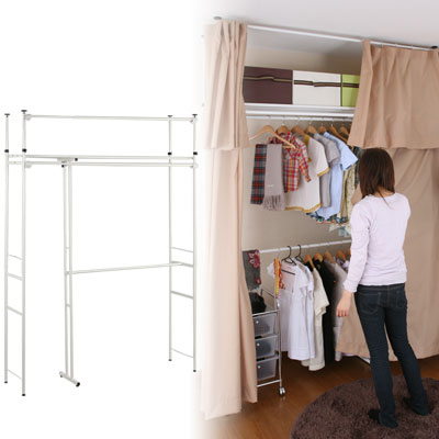 Clothes Storage Hanger Wall Curtains With Telescoping Retractable Closet Living Outlet