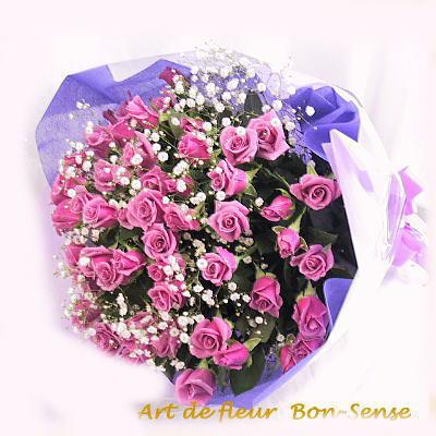 【送料無料】ゴージャスにキメ!紫系バラ50本の花束誕生日 記念日 クリスマス 古希 喜寿