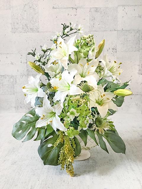 ホワイト&グリーンのアレンジメント【数量限定】【smtb-s】【造花】【人工観葉植物】【光触媒】【少し訳あり】【vd_dl19】