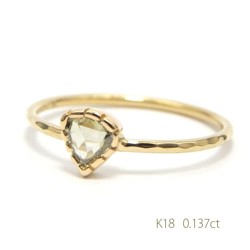 K18シャンパンゴールドAナチュラルダイヤリング0.137ctローズカット細い指輪 華奢リング18金指輪4月誕生石