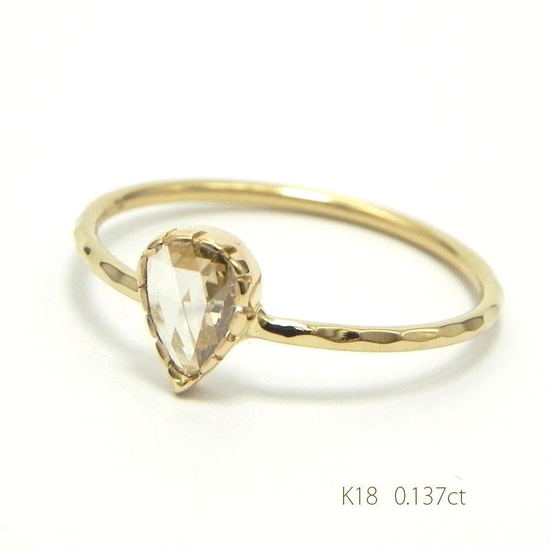 K18シャンパンゴールドBナチュラルダイヤリング0.137ctローズカット細い指輪 華奢リング18金指輪4月誕生石