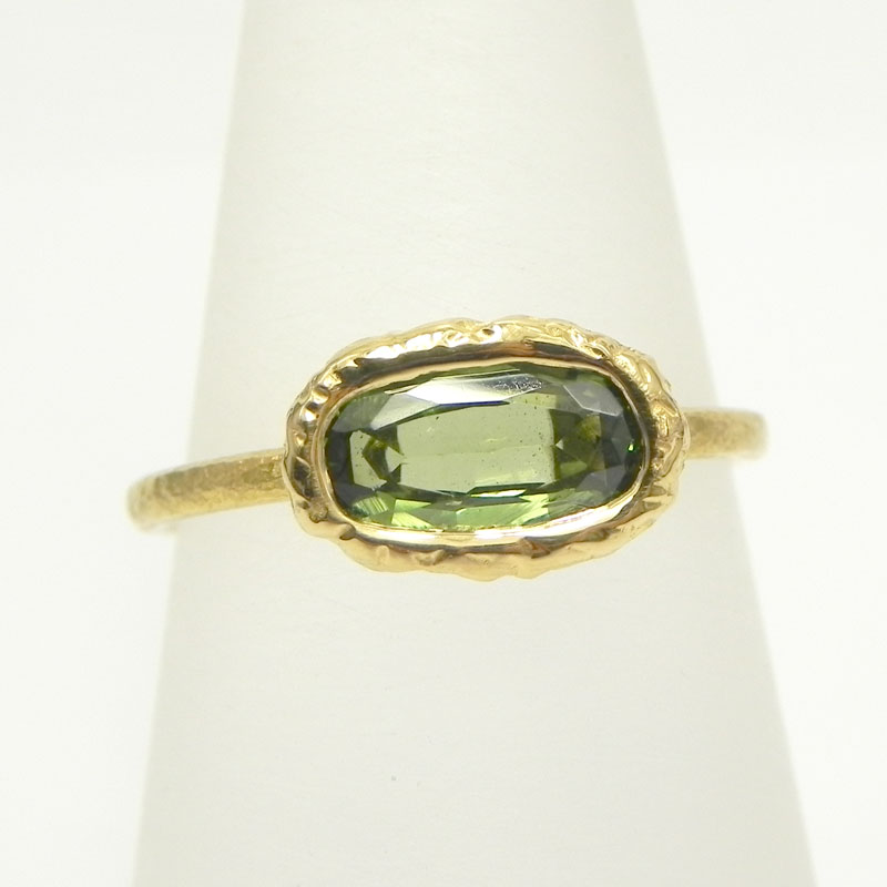 K22グリーンガーネットリング1.03ct22金の指輪細い指輪 華奢リング