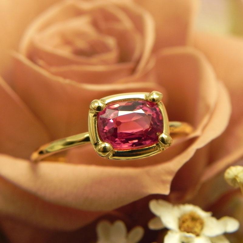 K22ピンクスピネルリング0.70ct22金の指輪細い指輪 華奢リング
