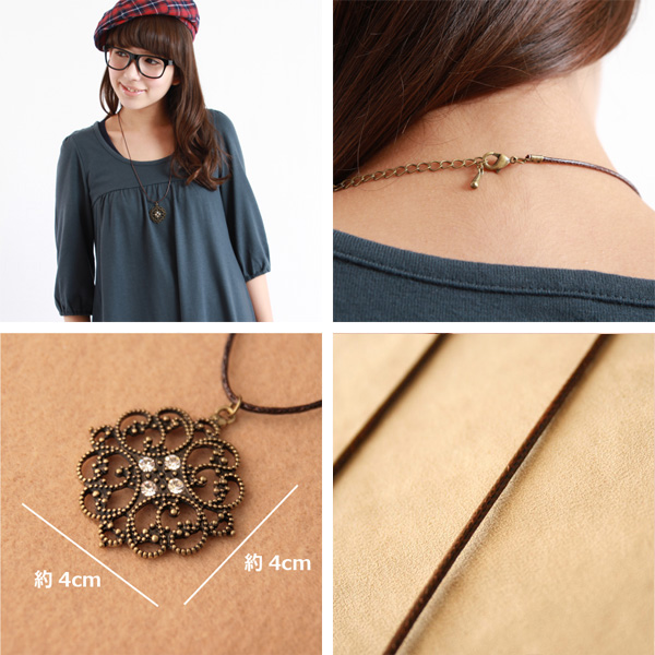 There is reason in exoticism ◆ Bonaventure( VONA van Tulle) antiqued natural lady's flower motif necklace pendant popularity to drift; in a strong yen reduction trial present!