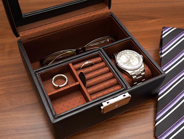 男性用ジュエリーボックス お父さんの宝箱 ショートバージョン <一週間出荷対応>【退職祝い プレゼント 男性 父 時計ケース ジュエリーケース 】
