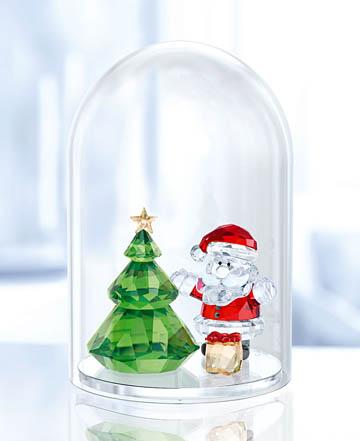 スワロフスキー 置物(Swarovski) クリスマス ガラス鐘 クリスマスツリーとサンタ #swv5403170