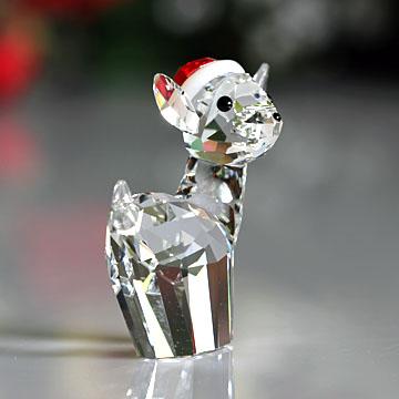 スワロフスキー クリスタル 置物 定番スタイル 本日の目玉 Swarovski クリスマス 雌ジカとサンタハット #swv5135853