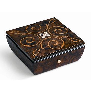 リュージュ 1曲36弁 クルミのこぶ材の宝石箱、組み合わせ模様の象嵌 AXA.36.4248.000 #rge007920