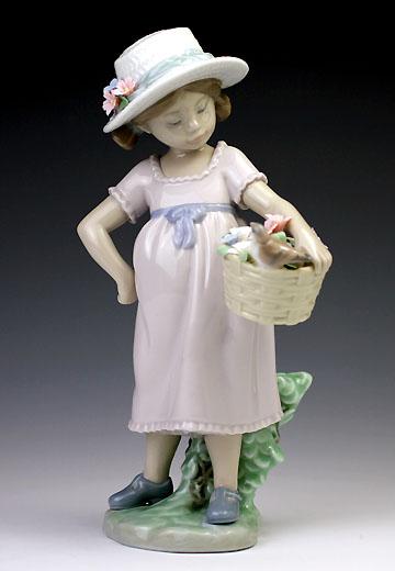 リヤドロ(Lladro リアドロ 陶器人形 置物) 花と少女 可愛いお友達#ldr-6826