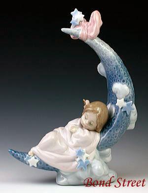 リヤドロ(Lladro リアドロ 陶器人形 置物) 赤ちゃん お月様の夢#ldr-6583