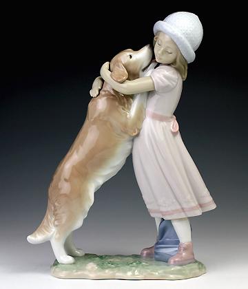 リヤドロ(Lladro リアドロ 陶器人形 置物) 犬と少女 待ってたよ!#ldr-6903
