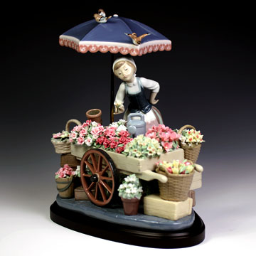 リヤドロ(Lladro リアドロ 陶器人形 置物) 花と少女 公園通りの花屋さん#ldr-1454