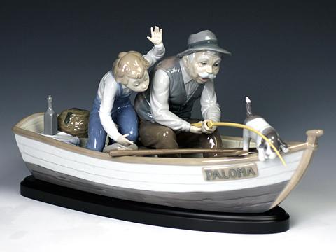 リヤドロ(Lladro リアドロ 陶器人形 置物) ファミリー おじいちゃんと魚釣り(台座付)#ldr-5215