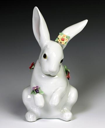 リヤドロ(Lladro リアドロ 陶器人形 置物) 動物 花飾りの白兎(4)#ldr-6100