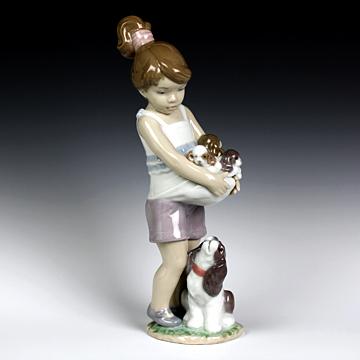リヤドロ(Lladro リアドロ 陶器人形 置物) 犬と少女 私がママよ #ldr-8690