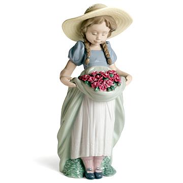 リヤドロ(Lladro リアドロ 陶器人形 置物) 花と少女 カーネーションをあなたに No.7229