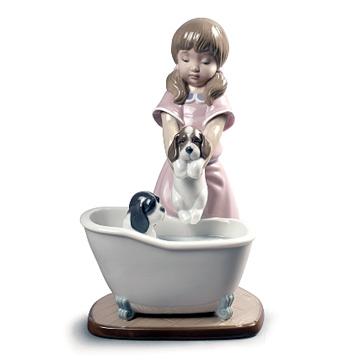 大人気新作 リヤドロ(Lladro リアドロ 陶器人形 置物) 犬と少女 仔犬たちの水浴び #ldr-9280, Medayful メデル 800857c5