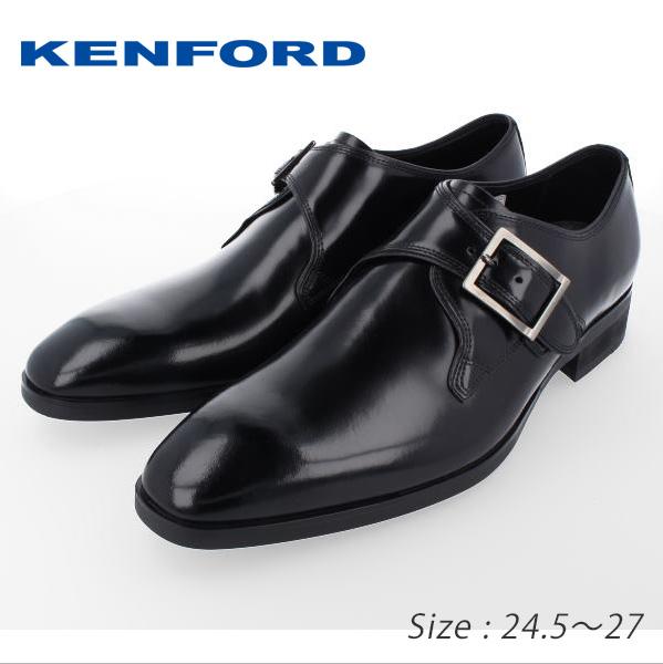★KENFORD ケンフォード KN50 モンクストラップ ブラック ロングノーズ ハイヒール 送料無料 通勤 成人式 メンズ アウトレット