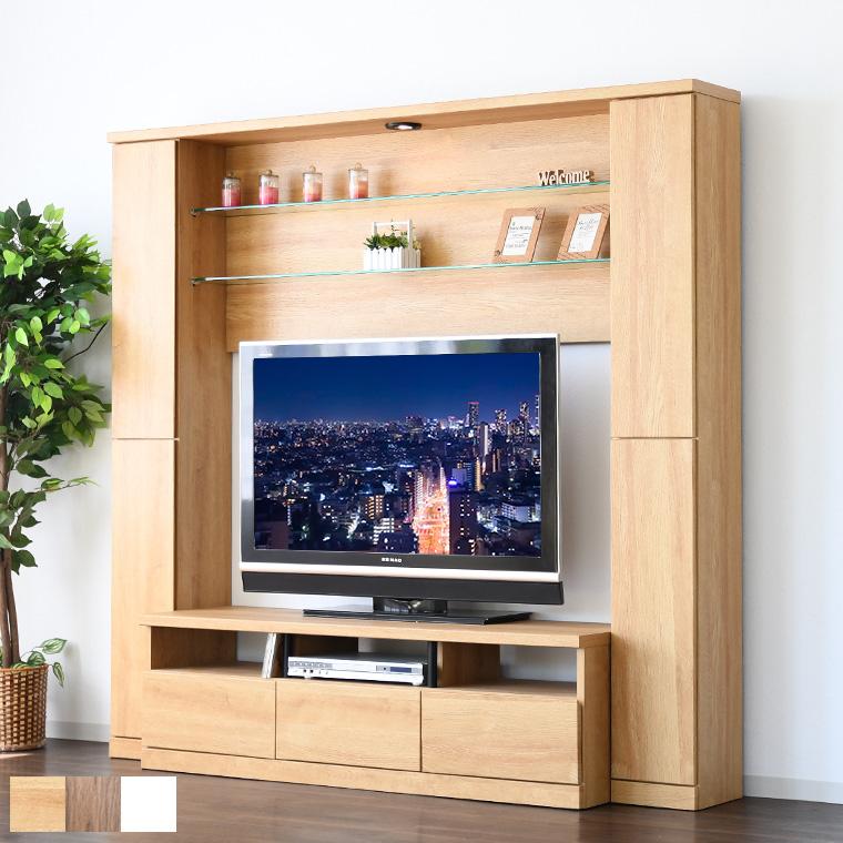 ハイタイプ テレビ台 テレビボード 壁面 LED リビングボード 42V対応 TVボード 大容量 フルオープン ガラス棚 幅190cm