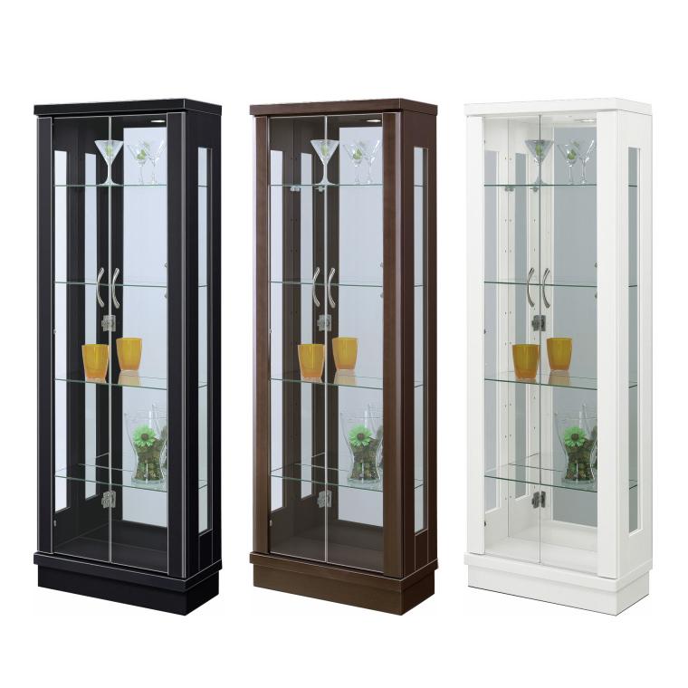 薄型デザイン コレクションボード 飾り棚 キュリオケース 幅50cm 奥行25cm 高さ143cm 完成品 戸棚 ガラス棚