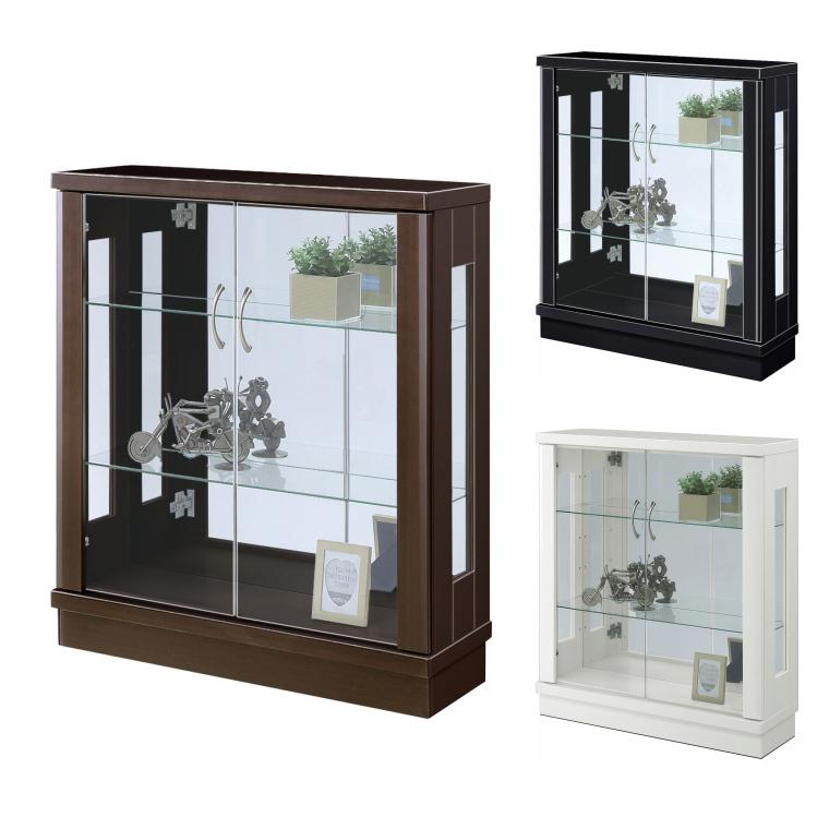 薄型デザイン コレクションボード 飾り棚 キュリオケース 幅75cm 奥行25cm 高さ85cm 完成品 戸棚 ガラス棚