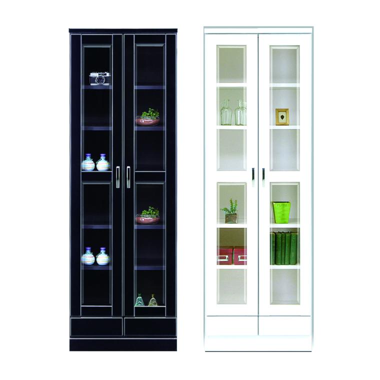 本棚 書棚 フリーボード 幅60cm 高さ182cm 日本製 開き扉 ハイタイプ 木製 完成品 ブラック ホワイト