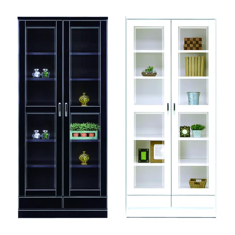 本棚 書棚 フリーボード [開梱設置サービス便] 幅80cm 高さ182cm 日本製 開き扉 ハイタイプ 木製 完成品 ブラック ホワイト