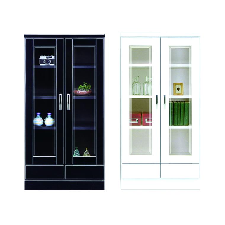 本棚 書棚 フリーボード 幅60cm 高さ182cm 日本製 開き扉 ミドルタイプ 木製 完成品 ブラック ホワイト