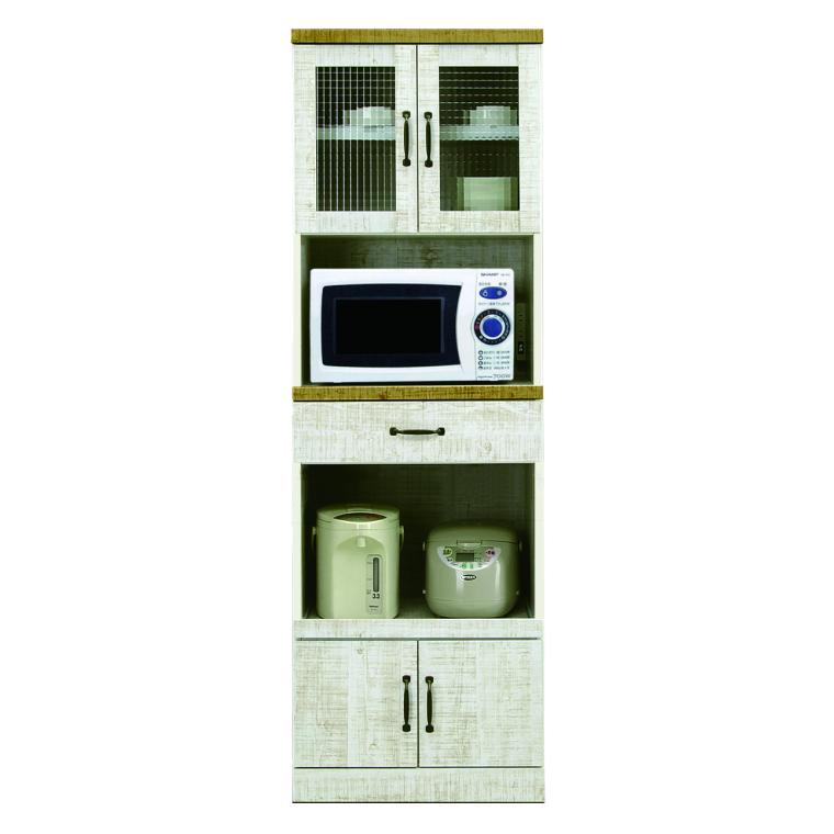 ヴィンテージ風シート レンジ台 食器棚 食器収納 幅60cm 高さ180cm 完成品 戸棚 家電収納 日本製 クロスペンガラス