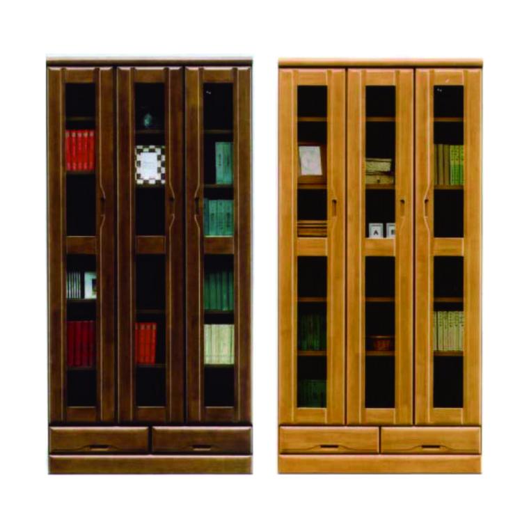 本棚 書棚 フリーボード [開梱設置サービス便] 幅90cm 高さ180cm 日本製 開き扉 ハイタイプ 木製 完成品 ブラウン ナチュラル
