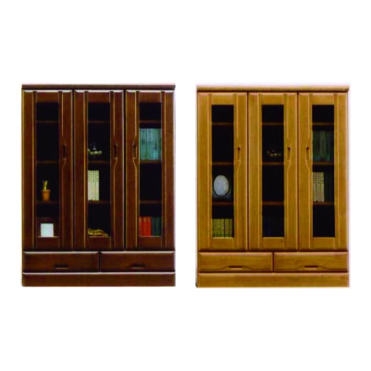 本棚 書棚 フリーボード [開梱設置サービス便] 幅90cm 高さ120cm 日本製 開き扉 ミドルタイプ 木製 完成品 ブラウン ナチュラル
