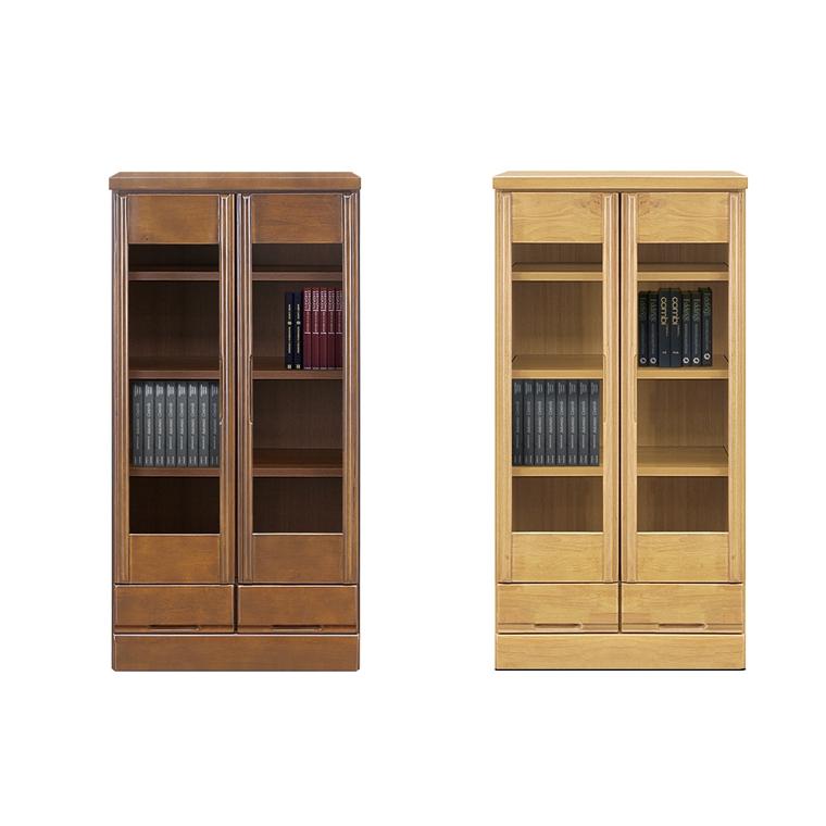 本棚 書棚 ブックボックス 扉収納 棚 収納 食器棚 木製 日本製 完成品 幅60cm 奥行40cm 高さ120cm ブラウン ナチュラル
