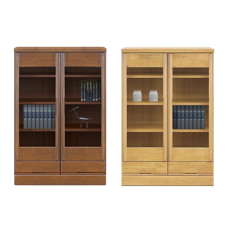 本棚 書棚 ブックボックス 扉収納 棚 収納 食器棚 木製 日本製 完成品 幅80cm 奥行40cm 高さ120cm ブラウン ナチュラル