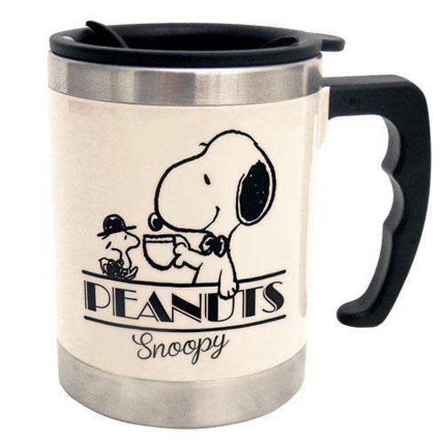 保温保冷のできるマグカップです PEANUTS 予約 スヌーピーサーモマグスヌーピー ウッドストックアイボリー マグカップ 爆売り 保温ふた付き 保冷