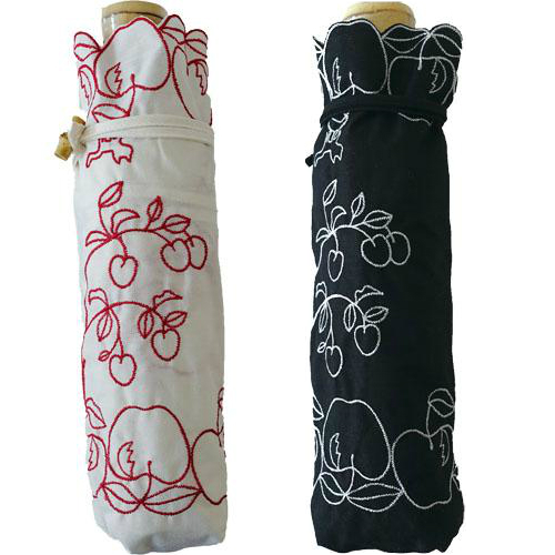 可愛いりんご柄 ATSUKO MATANO またのあつこ日傘 晴雨兼用刺繍 パラソル ミニりんご姫 新色 激安価格と即納で通信販売 w.p.cマタノアツコ 折りたたみ傘折り畳み