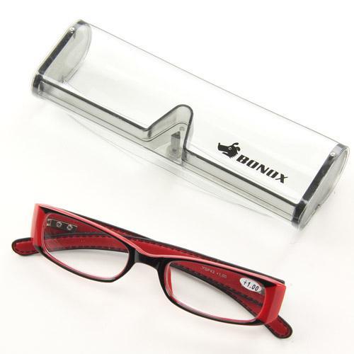 新着セール 男女兼用 BONOX リーディングラスシニアグラス レッド度数展開 ボノックス 老眼鏡レザー風 直営店