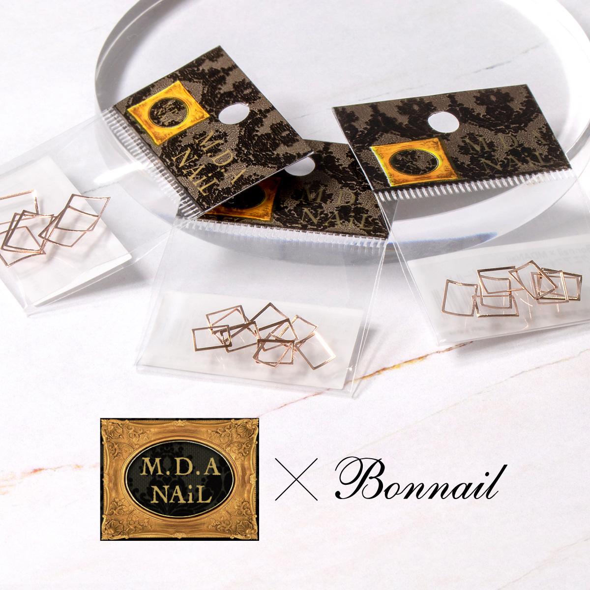 Bonnail×MDANail ボンネイル 買い取り ジェルネイル パーツ メタル フレーム 最安値に挑戦 中抜き@Bonnail×MDANail スクエアフォーカス @865261 ピンクゴールド